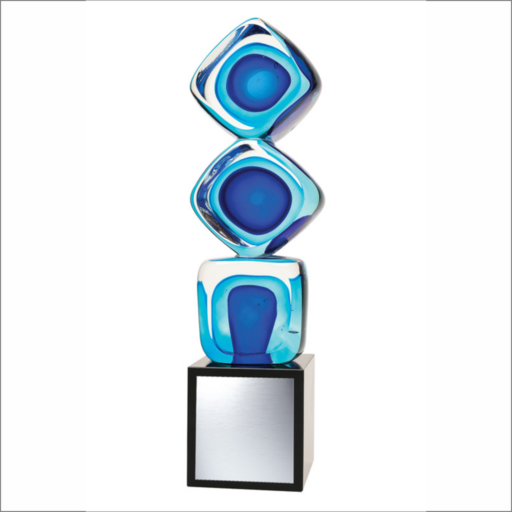"Blue Tri-Cube - 11"" - Art Glass Award"