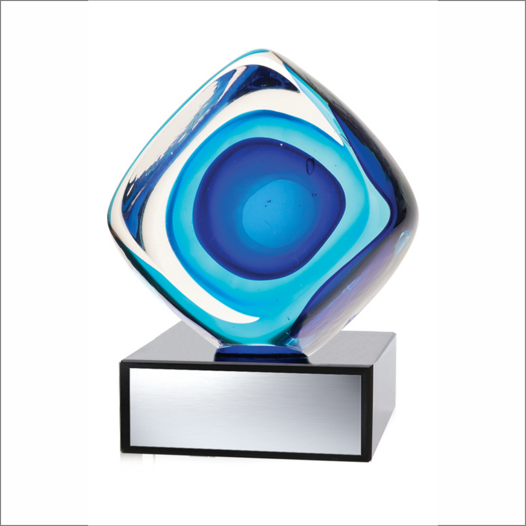 "Blue Cube - 4¼"" - Art Glass Award"
