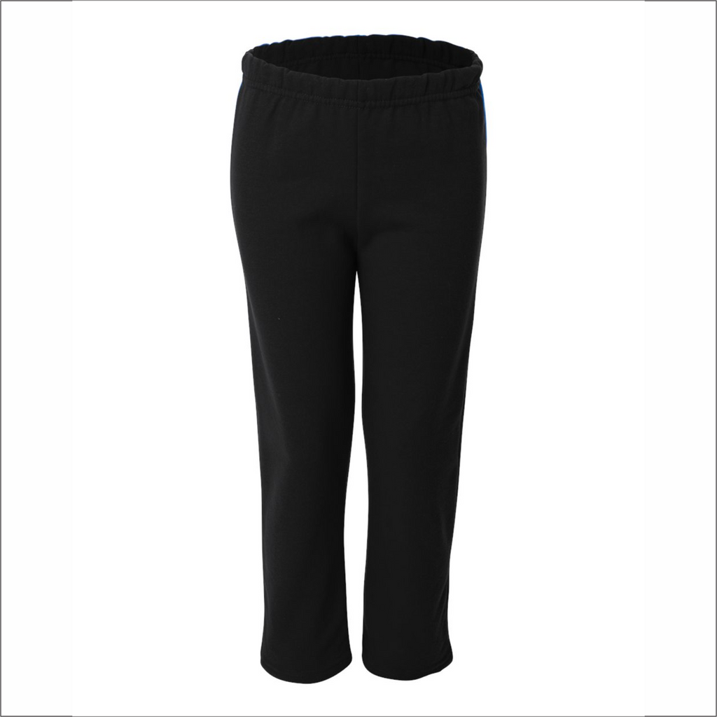 Youth Black Sweatpants - Open-Bottom - Gildan 18400B