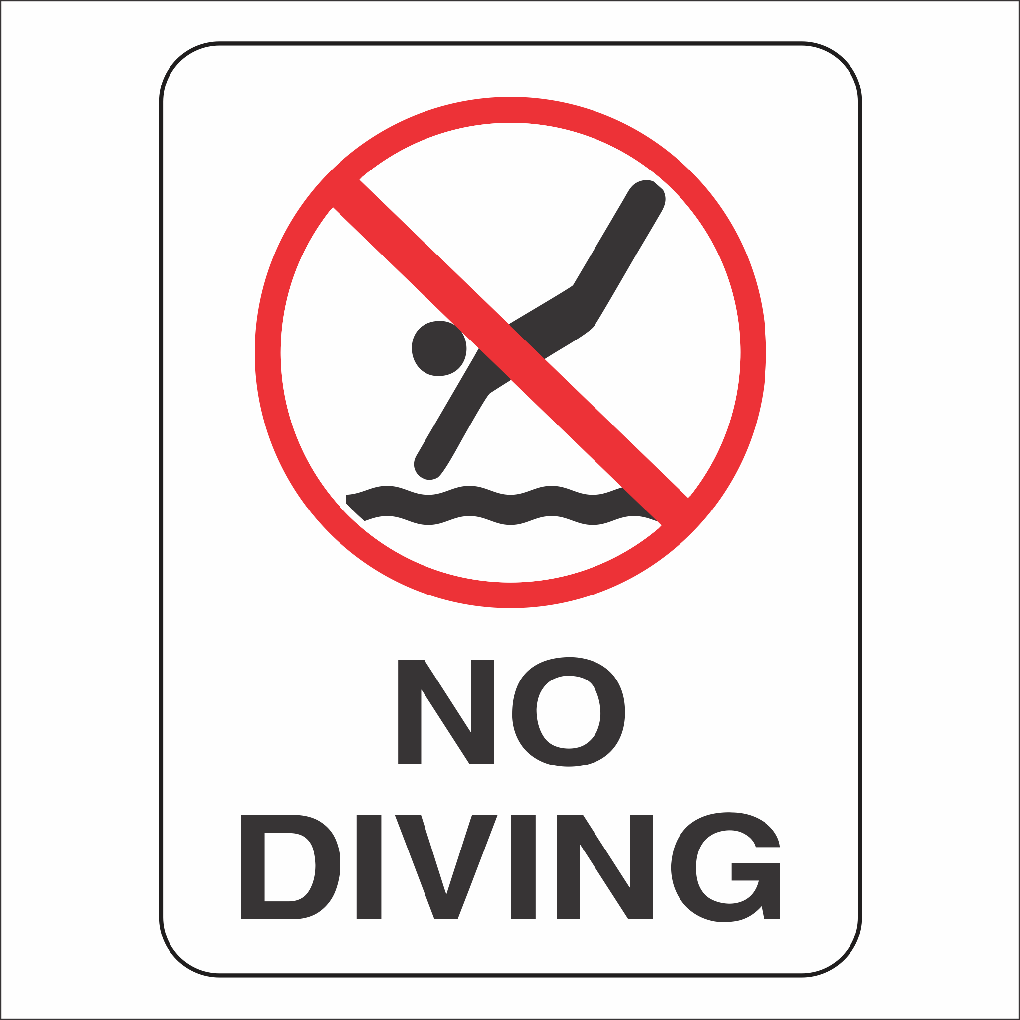 No Diving - Sign