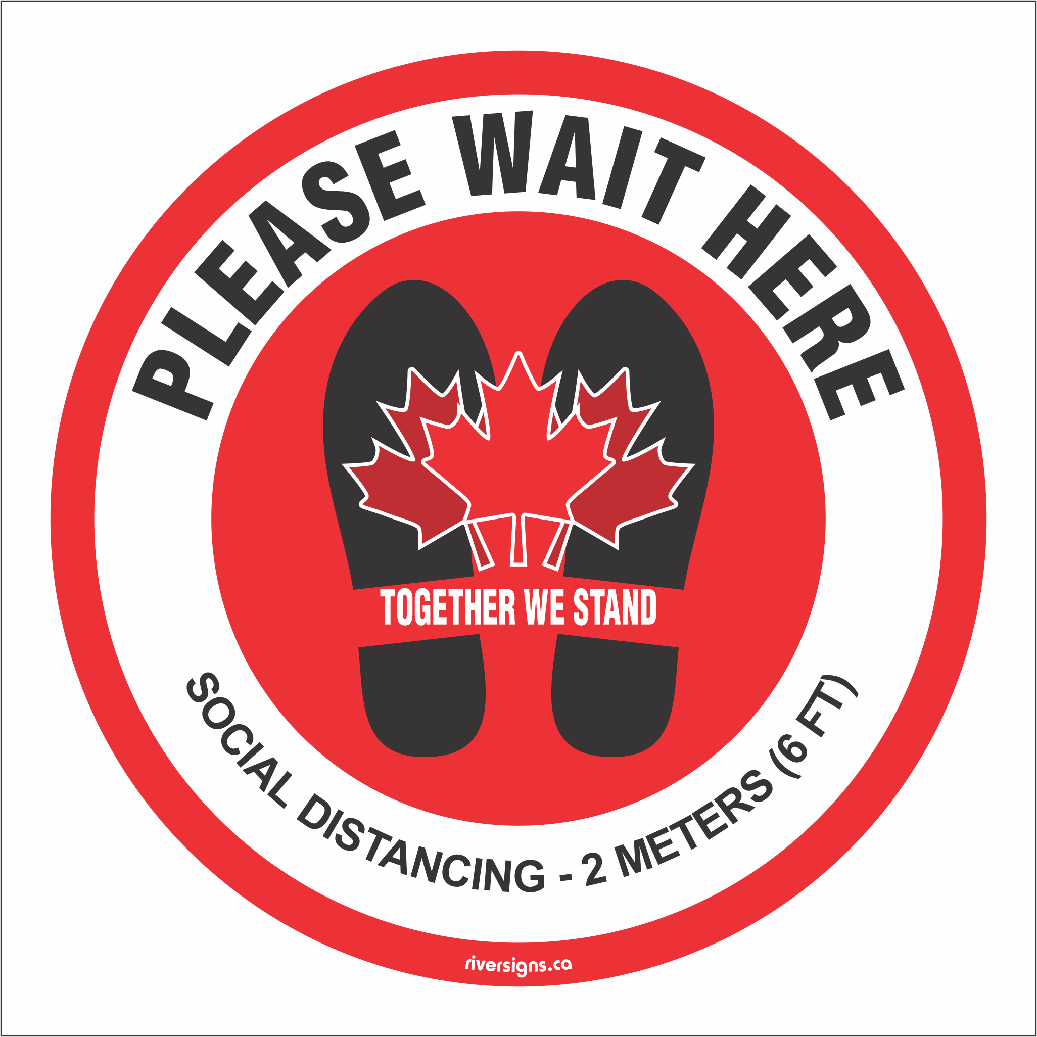 "Wait Here Decal - 16"" diameter"