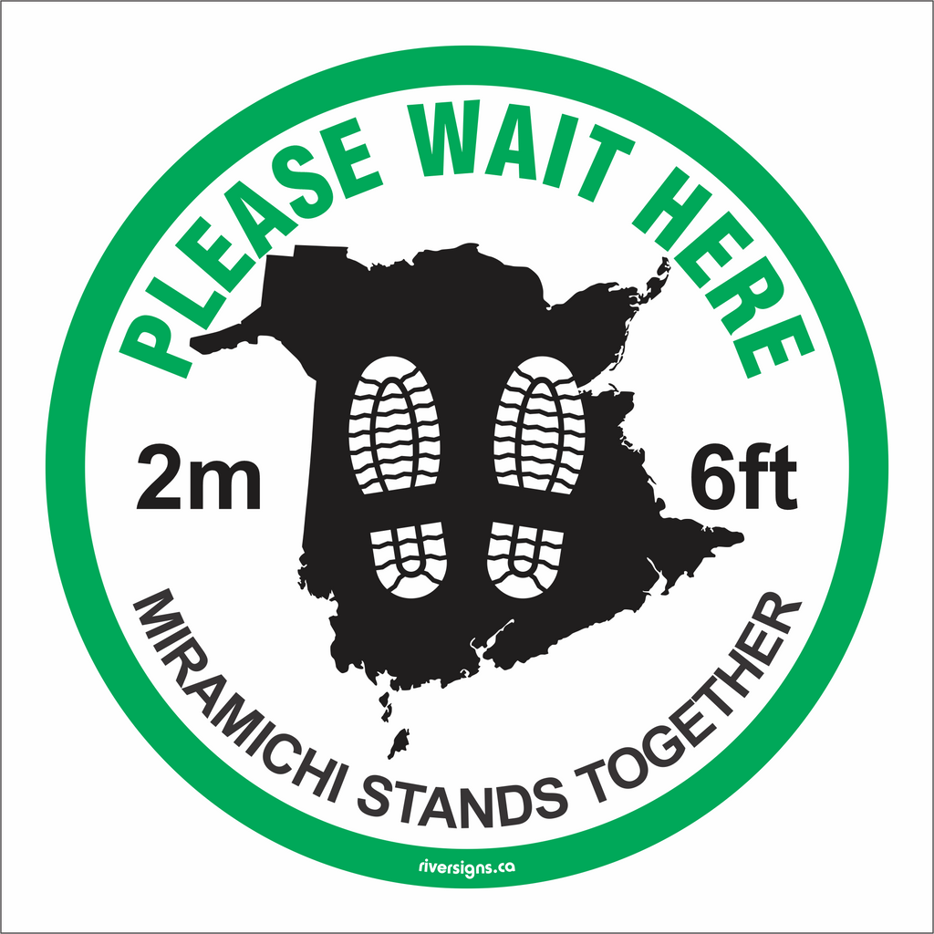 "Please Wait Here Decal - 16"" diameter"