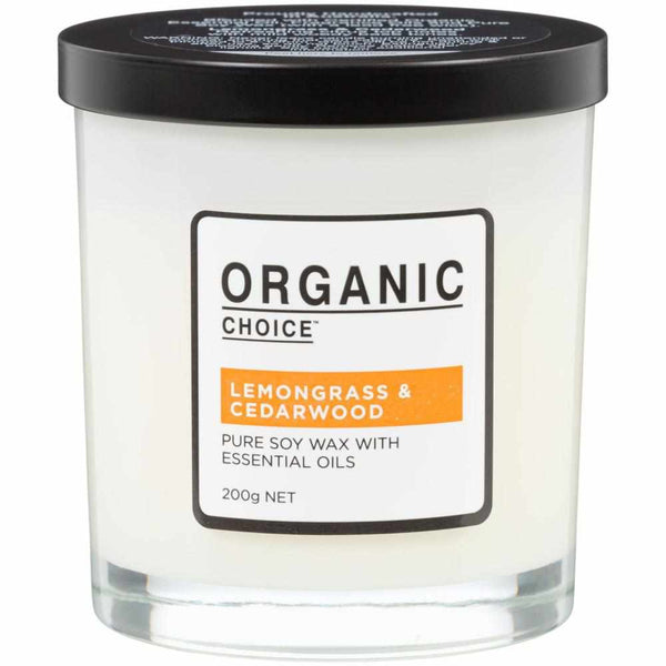 Organic Choice Lemongrass & Cedarwood Pure Soy Candle mybbbounce.com