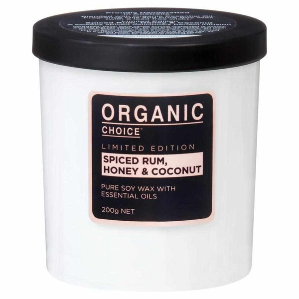 Organic Choice Spiced Rum, Honey & Coconut Pure Soy Candle LIMITED EDITION mybbbounce