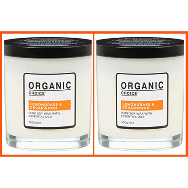 Organic Choice Lemongrass & Cedarwood Pure Soy Candle Twin Pack mybbbounce