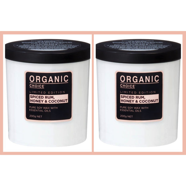 Organic Choice Spiced Rum, Honey & Coconut Pure Soy Candle Twin Pack mybbbounce