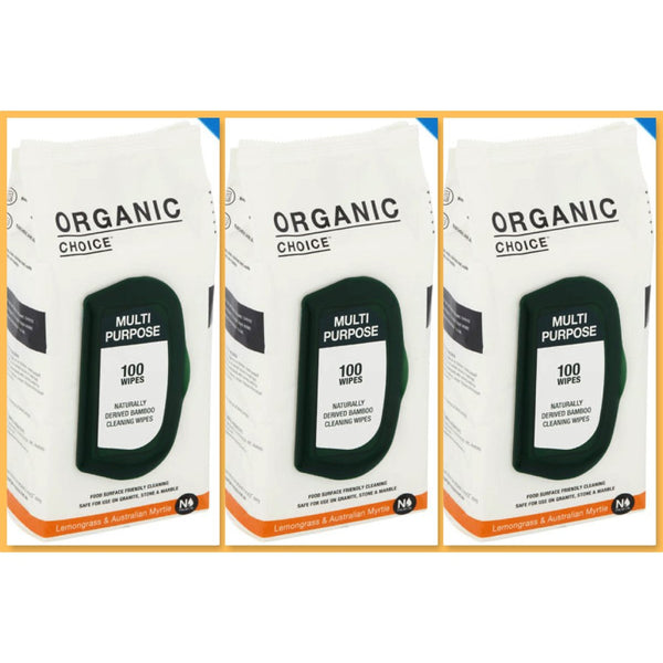 Organic Choice Multi Purpose Wipes Lemongrass & Australian Myrtle VALUE PACK TRIO mybbbounce.com