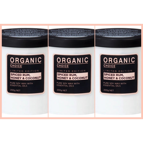 Organic Choice Spiced Rum Honey & Coconut Candle Value Pack mybbbounce