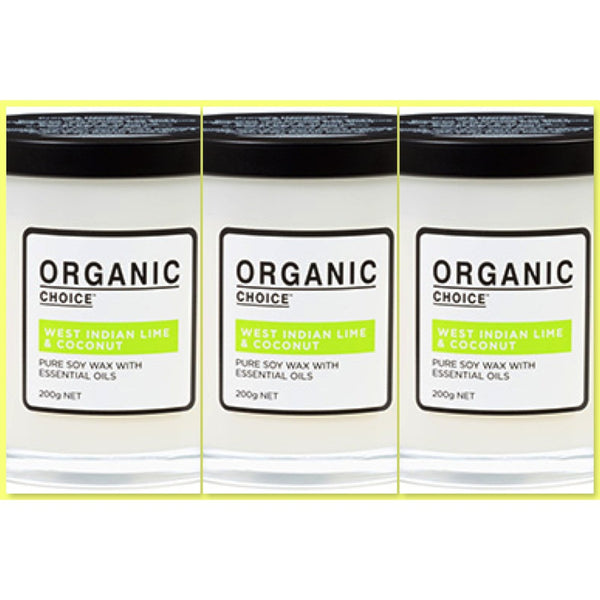 Organic Choice West Indian Lime & Coconut Pure Soy Candle TRIO VALUE PACK mybbbounce.com