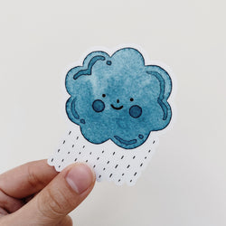 Happy Rain Cloud Watercolor Decal Sticker