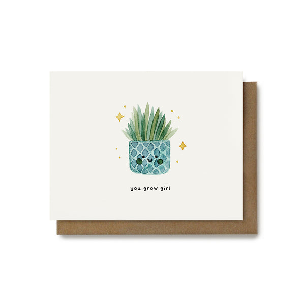 You Grow Girl Plant Pun Card