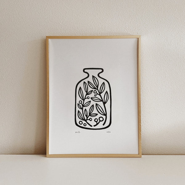 Jar of Plants - Linocut Art Print