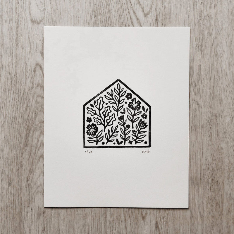 Home is Where My Plants Are - Linocut Art Print