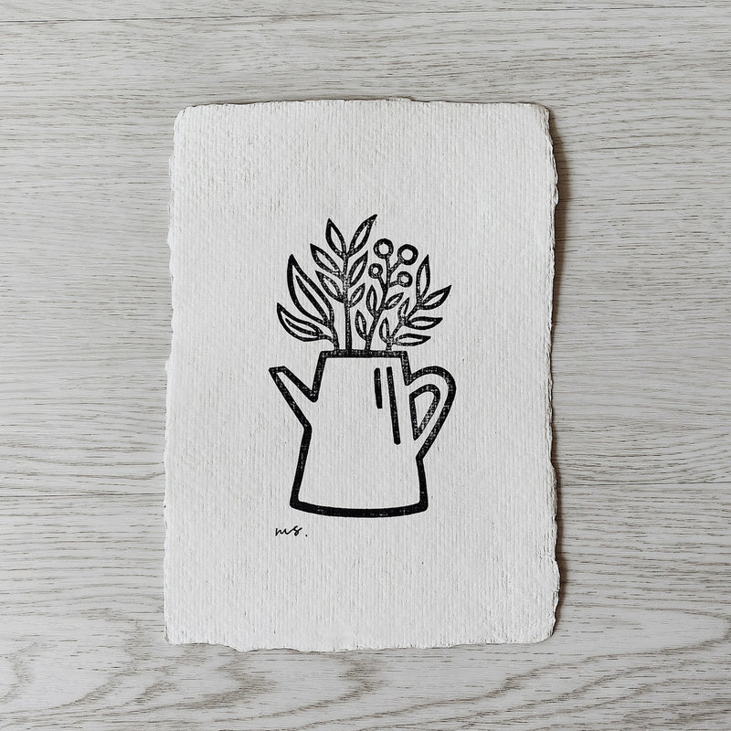 Garden Watering Can - Linocut Art Print