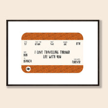 Load image into Gallery viewer, Leopard Train Ticket Personalised Print