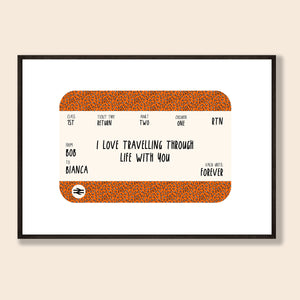 Leopard Train Ticket Personalised Print