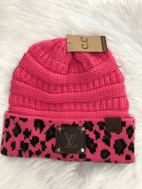 The Distressed Rose Beanie CC Beanie Pink Leopard w/Upcycled LV