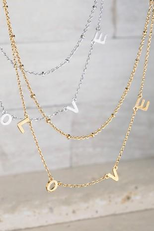 The Distressed Rose necklace Gold Love Necklace