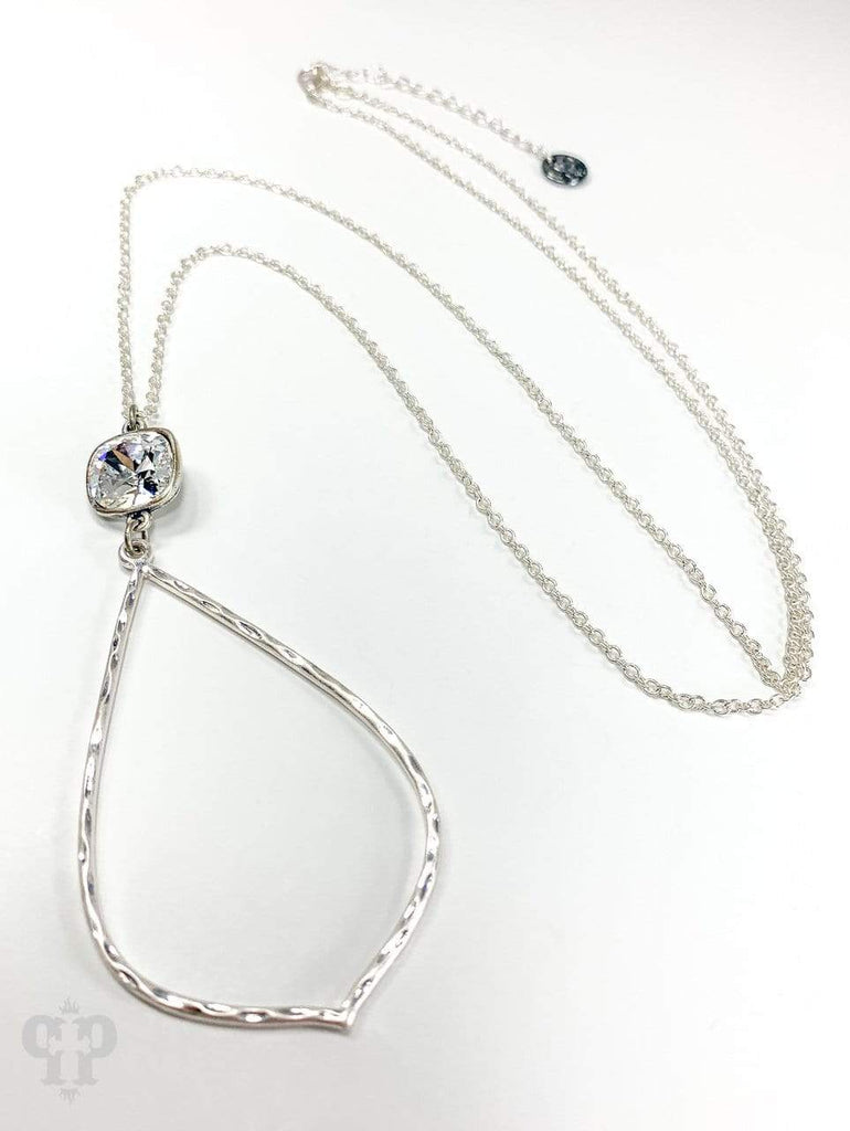 The Distressed Rose Necklace Silver Open Diamond Necklace