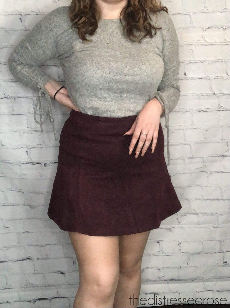 The Distressed Rose skirt Plum Faux Suede Skirt