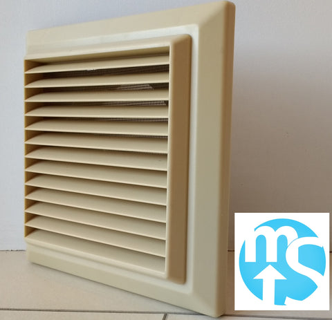 "5"" (125mm) Beige Cotswold Stone Louvered Grille Vent with Flyscreen"