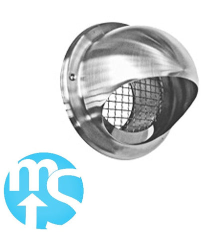 "Stainless Steel 150mm (6"") Bull Nose Vent *Low resistance with internal SS mesh*"