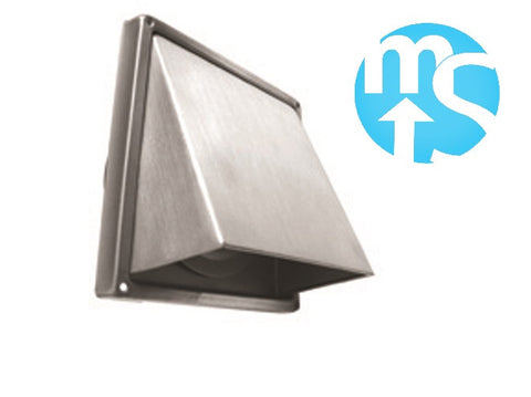 "Stainless Steel 100mm 4"" Backflap Cowled Extract Vent *Perfect for cooker hoods*"