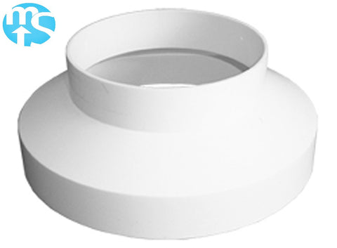 "125mm to 100mm (5"" to 4"") White Plastic Ducting Reducer"