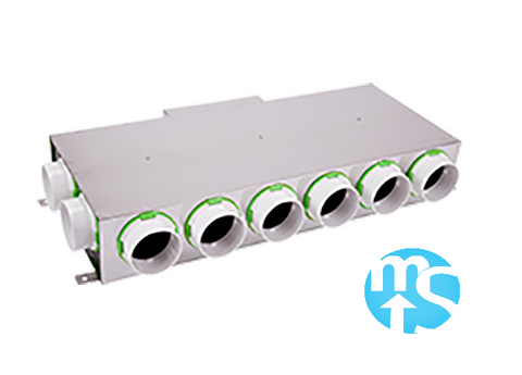 10 Port Horizontal Acoustically Lined Manifold with 220 x 90 Rear Input *4 x 75mm Side Spigots*