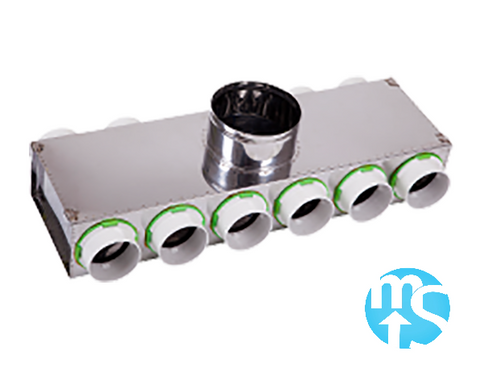 10 Port Manifold Box Acoustically Lined Stainless Steel with 150mm Round Input