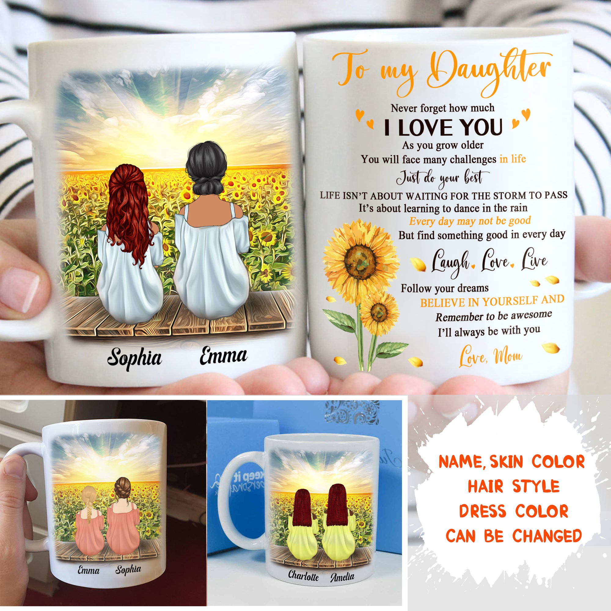 Personalized Custom Coffee Mug – Never Forget How Much I love You - Gift For Adult Daughter From Mom, Sunflower Mug, Birthday Gifts - 7336