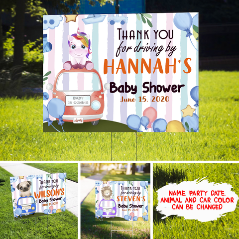 Personalized Custom Yard Sign - Thank You - Drive-by Baby Shower - Gift for Mom-to-be, Baby shower gift - 6935