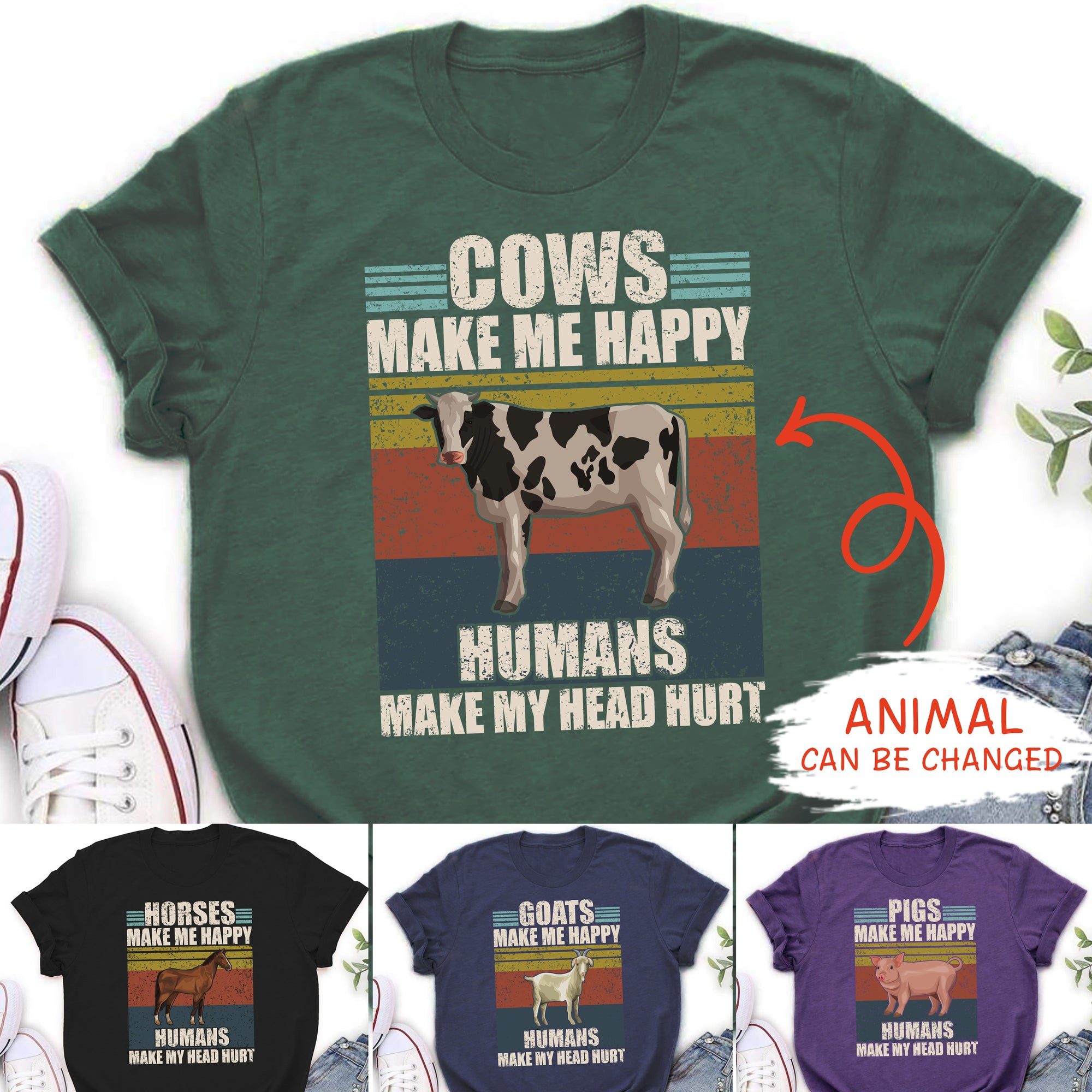 Personalized Custom Unisex T-shirt - Make Me Happy - Farm Shirt, Animals Make Me Happy Shirt, Customized T-Shirt, Funny T-Shirt - 9719