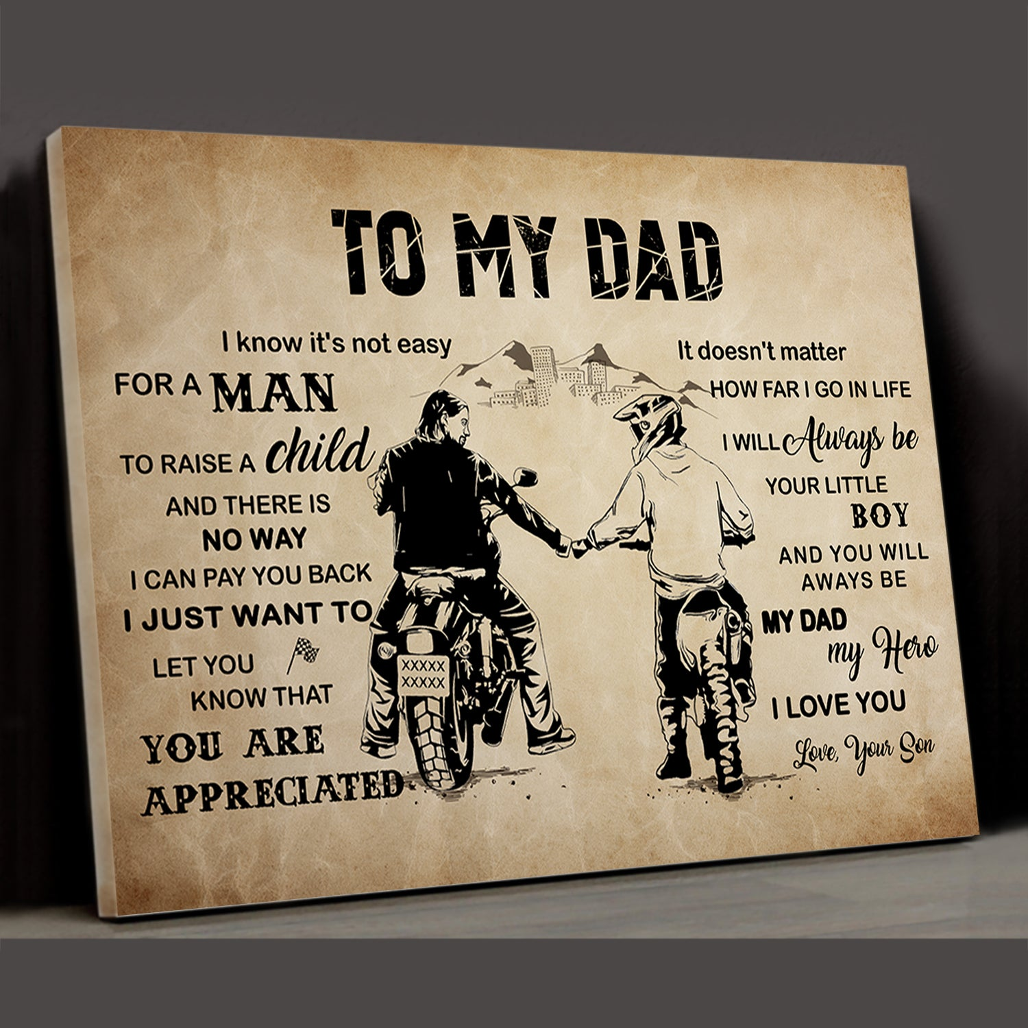 It's Not Easy For A Man To Raise A Child - Matte Canvas - Gift For Dad From Son - Home Wall Art Decor - 367