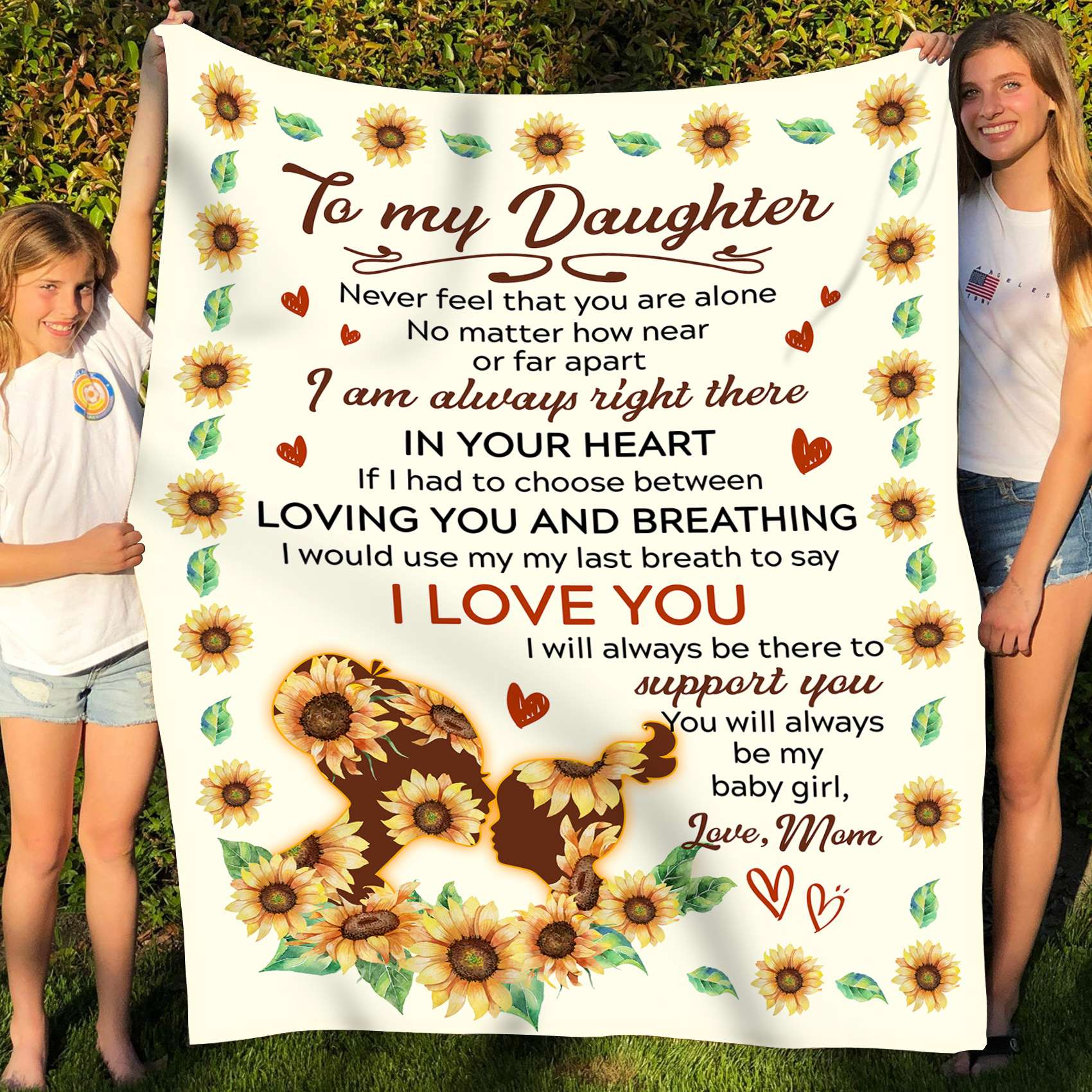 To my daughter fleece blanket - I'm always right there in your heart - Gift for daughter from mother - Birthday gifts - 806