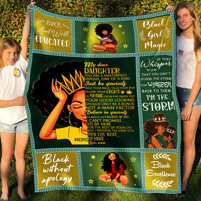 To My Daughter Fleece Blanket - Black Girl Magic, Shine Your Light - Gifts for Daughter from Mom, Birthday Gifts - 3223
