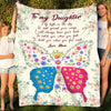 To my daughter fleece blanket - Spread your wings blanket - Gift for daughter from mother - Birthday gifts, blanket with quotes - 20