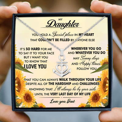 To my daughter necklace - I'll always be by your side - Gift for daughter from dad - Anchor love necklace with message card - 9800