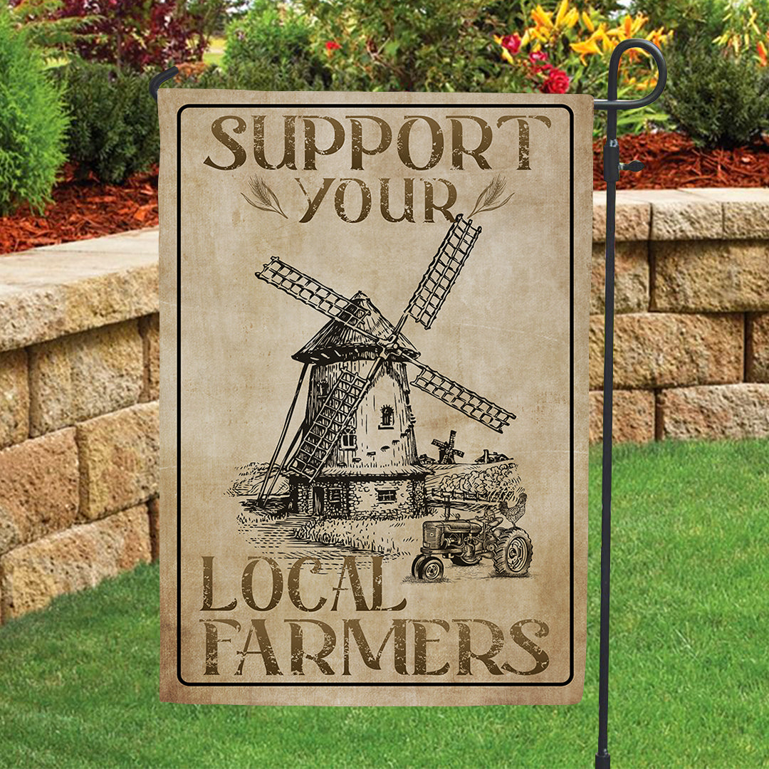 Garden Flag - Support Your Local Farmers - Vintage Style - 3927