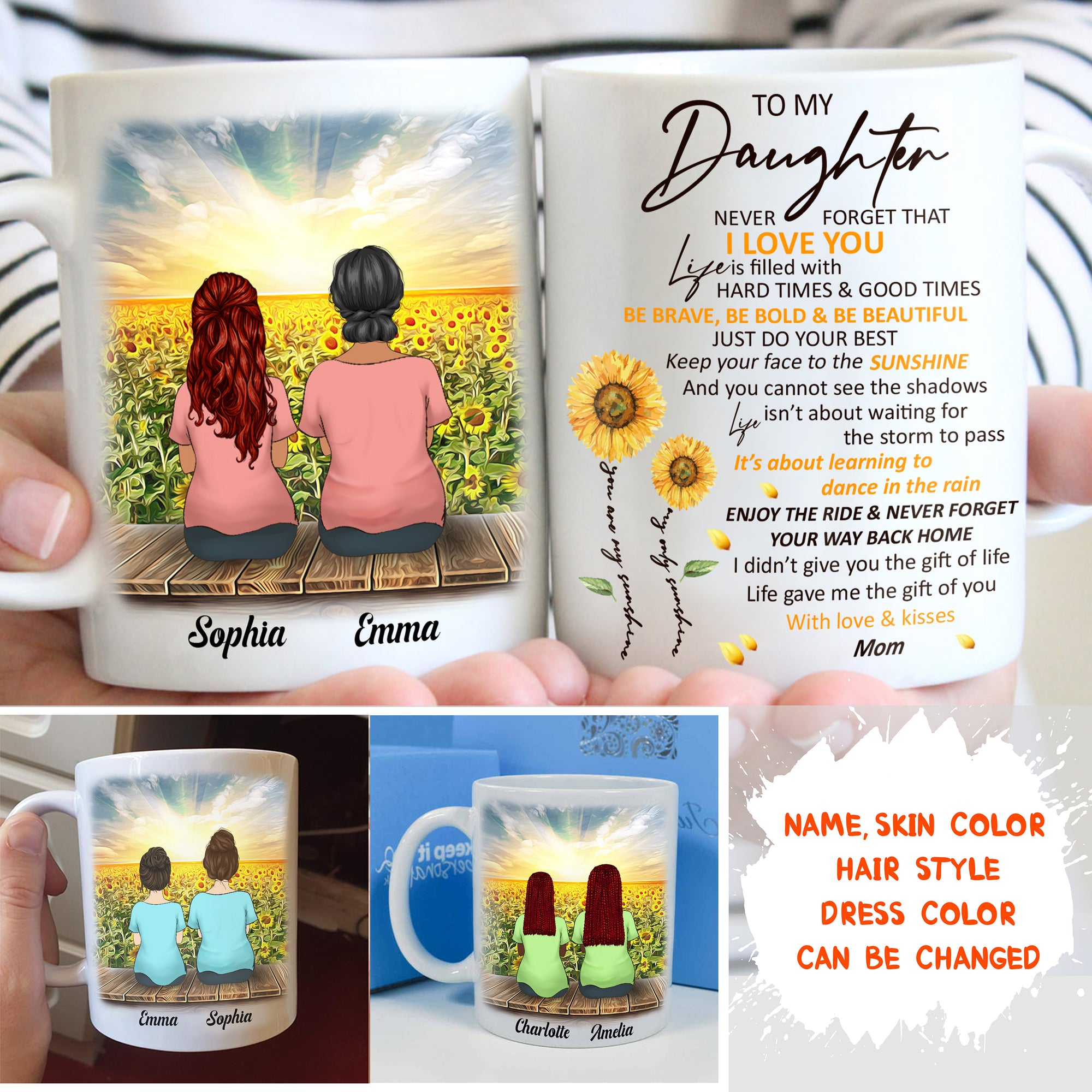 Personalized Custom Coffee Mug – Never Forget How Much I love You - Gift For Daughter From Mom, Sunflower Mug, Birthday Gifts - 6488