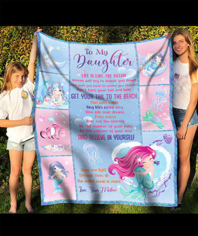 Wisdom from a mermaid - To my daughter fleece blanket - Sentimental gifts - Christmas gifts for daughter - Gifts for daughter from mom