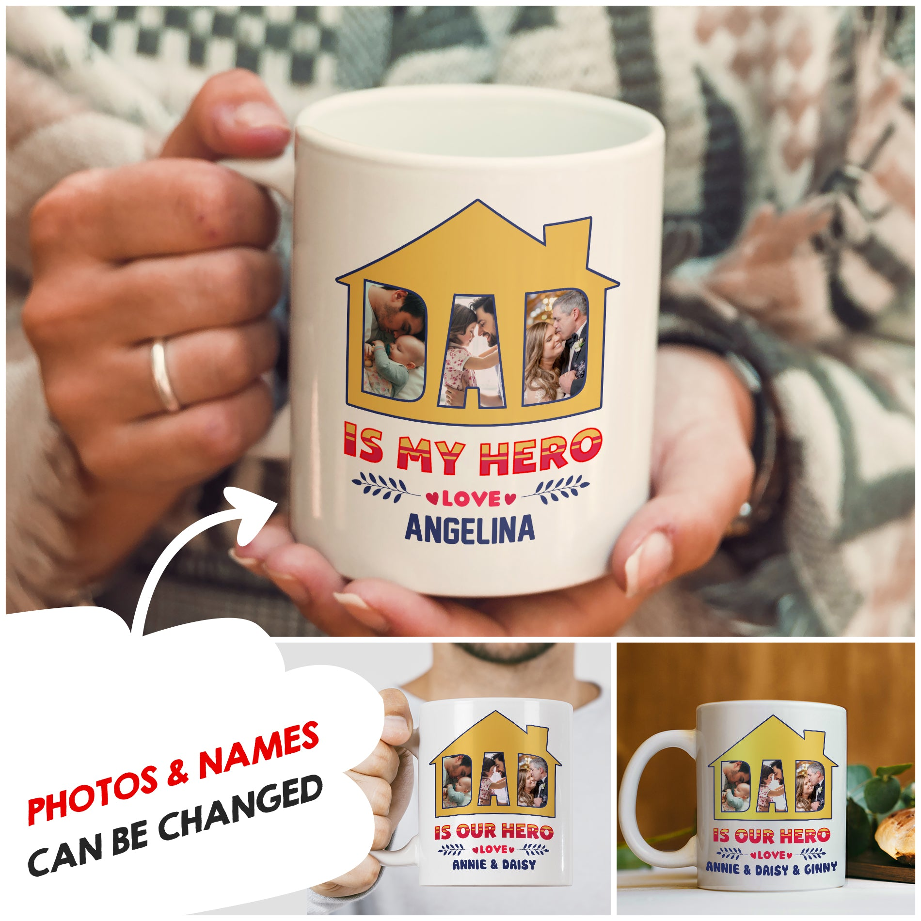 Personalized Custom Coffee Mug - Dad Is My Hero - Gift for Dad - Father's Day gift - 1208