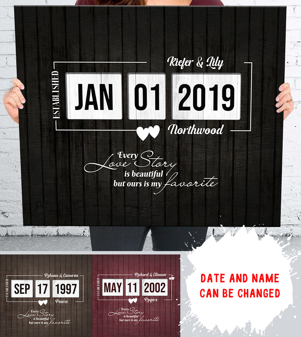 Personalized custom canvas - Wedding canvas - Wedding anniversary canvas - Gift for wife, husband - 3319