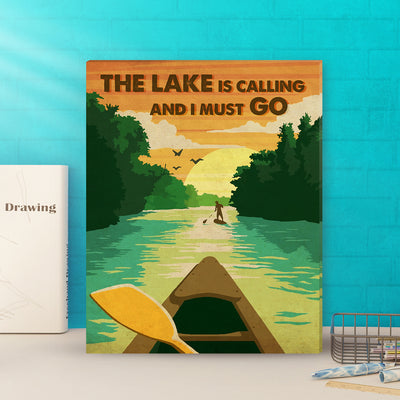 Matte canvas - The lake is calling and I must go - Gifts for lake lovers - Wall art, Home decor - 8471