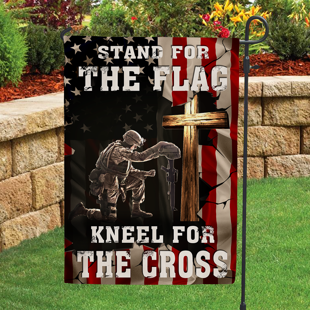 Garden Flag - Stand for the Flag - Kneel for the Cross - 7031