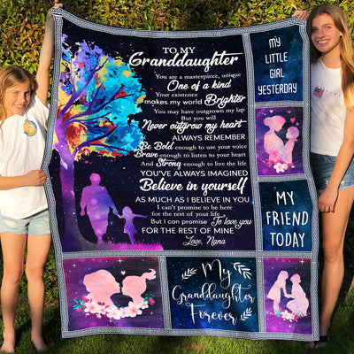 To my granddaughter fleece blanket - Believe in yourself - Gift for granddaughter from nana, Birthday gifts, Blanket with quotes - 6967