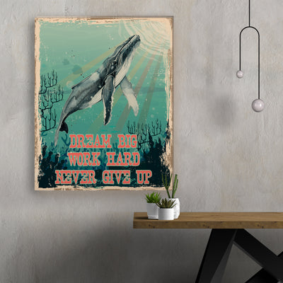 Printed Canvas - Dream Big, Work Hard - Retro Canvas, Wall Art - 9031