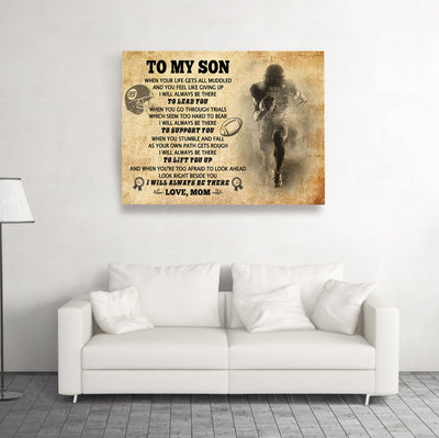 Football canvas - I will always be there  - Gift for son from mom - Home decor wall art - 5239
