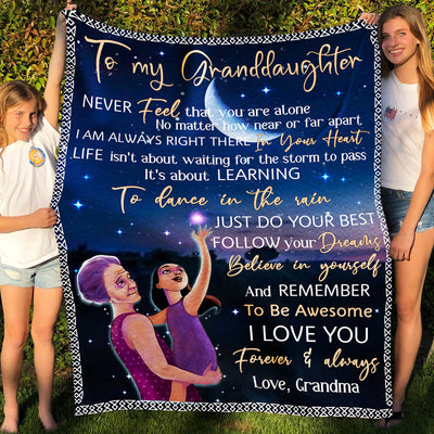 To my granddaughter fleece blanket - Follow your dreams - Gift for granddaughter from grandma - Birthday gifts, blanket with quotes - 023