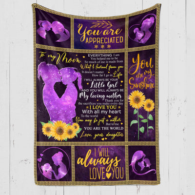 To My Mother Fleece Blanket - My Loving Mother - Gift For Mother From Daughter - Blanket With Quotes - 5319